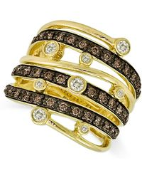 Le Vian - Chocolate And White Diamond Multi-row Ring (3/4 Ct. T.w.) In 14k Gold - Lyst