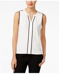 CALVIN KLEIN 205W39NYC - Sleeveless Contrast-trim Blouse - Lyst