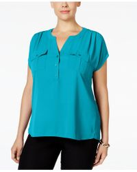 INC International Concepts - Plus Size Mixed-media Utility Shirt, Only At Macy's - Lyst
