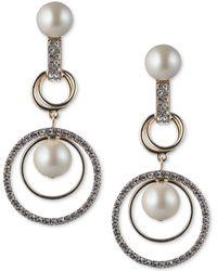 Carolee - Gold-tone Imitation Pearl & Pavé Orbital Drop Earrings - Lyst