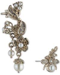 Marchesa - Gold-tone Imitation Pearl & Pavé Mismatch Ear Climber & Stud Earring - Lyst