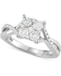 Macy's - Diamond Cluster Overlap Enagement Ring (1 Ct. T.w.) In 14k White Gold - Lyst