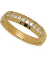 Macy's - Men's Diamond Band In 14k Yellow Gold (1/4 Ct. T.w.) - Lyst