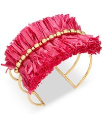 INC International Concepts - I.n.c. Gold-tone Bead & Raffia Triple-row Cuff Bracelet, Created For Macy's - Lyst