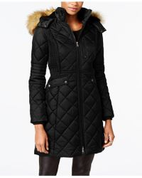 Jones New York - Faux-fur-trim Knit-side Quilted Coat - Lyst
