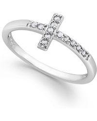 Macy's - Diamond Cross Ring In Sterling Silver (1/10 Ct. T.w.) - Lyst