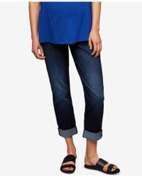 Luxe Essentials - Maternity Medium Wash Boyfriend Jeans - Lyst