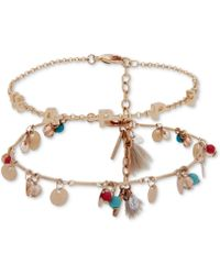 Lonna & Lilly - Gold-tone 2-pc. Set Happy Bead & Charm Flex Bracelets, Created For Macy's - Lyst