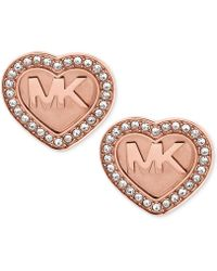 Michael Kors | Logo Heart Pavé Stud Earrings | Lyst