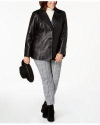 Jones New York - Plus Size Single-breasted Leather Jacket - Lyst
