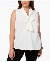 Kasper - Plus Size Tie-neck Shell - Lyst