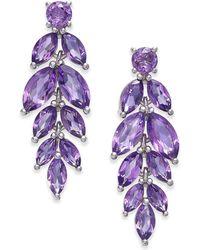 Macy's - Amethyst Vine Drop Earrings (5-3/4 Ct. T.w.) In Sterling Silver - Lyst