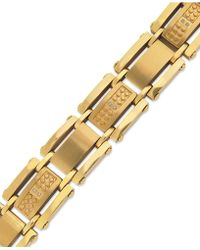 Macy's | Men's Single-cut Diamond Bracelet In Stainless Steel And Yellow-ion Plating (1/10 Ct. T.w.) | Lyst
