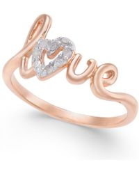 Macy's - Diamond Love Ring (1/10 Ct. T.w.) In 14k Gold-plated Sterling Silver - Lyst