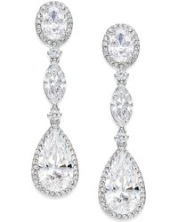 Danori - Silver-tone Oval Crystal Drop Earrings - Lyst