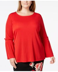 55cb149337c Lyst - Alfani Plus Size Ribbed Bell-sleeve Top in Black