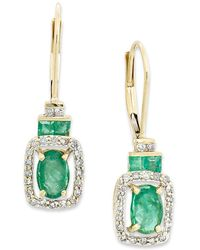 Macy's - 14k Gold Earrings, Emerald (1-1/6 Ct. T.w.) And Diamond (1/5 Ct. T.w.) Rectangle Drop Earrings - Lyst