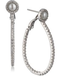 Carolee - Silver-tone Pavé & Imitation Pearl Drop Hoop Earrings - Lyst