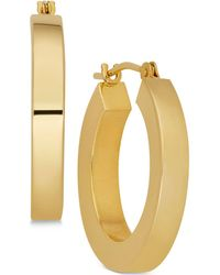 Macy's - Polished Chunky Flat-edge Tube Hoop Earrings In 14k Gold - Lyst