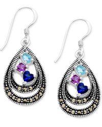 Macy's - Cubic Zirconia & Marcasite Double Teardrop Drop Earrings In Fine Silver-plate - Lyst