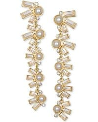 Badgley Mischka - Crystal & Imitation Pearl Linear Drop Earrings - Lyst