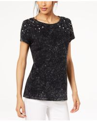 9bccecec2be INC International Concepts - I.n.c. Cotton Faux-pearl-embellished T-shirt