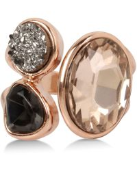 Kenneth Cole - Rose Gold-tone Tri-stone Ring - Lyst