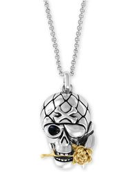"""Effy Collection - Two-tone Skull & Rose 20"""" Pendant Necklace In Sterling Silver & 18k Gold-plate - Lyst"""