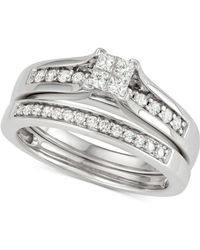 Macy's - Diamond Princess Bridal Set (1/2 Ct. T.w.) In 14k White Gold - Lyst