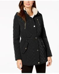 Laundry by Shelli Segal - Petite Fleece-lined Quilted Coat - Lyst