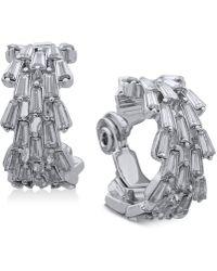Anne Klein - Silver-tone Crystal Clip-on Hoop Earrings - Lyst