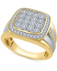 Macy's - Men's Diamond Two-tone Cluster Ring (1/2 Ct. T.w.) In Sterling Silver And 14k Gold-plated Sterling Silver - Lyst