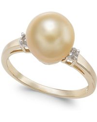 Macy's - Cultured Golden South Sea Pearl (9mm) & Diamond Accent Ring In 14k Gold - Lyst