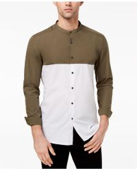 Kenneth Cole - Colorblocked Band-collar Shirt - Lyst
