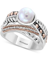 Effy Collection - Cultured Freshwater Pearl (8mm) & Diamond Accent Ring In Sterling Silver & 18k Rose Gold - Lyst