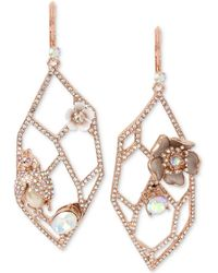 Betsey Johnson - Rose Gold-tone Crystal & Imitation Pearl Openwork Drop Earrings - Lyst