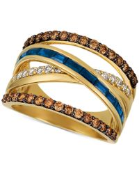 Le Vian - ® Chocolate & Nudetm Blueberry Sapphiretm (3/4 Ct. T.w.) & Diamond (7/8 Ct. T.w.) Crisscross Ring In 14k Gold - Lyst