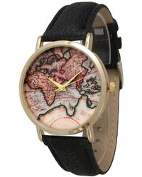 Urban Outfitters World Map Watch.Lyst Urban Outfitters Around The World Leather Watch In Black