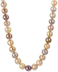 """Macy's - Multicolor Cultured Freshwater Pearl (9-1/2-11-1/2mm) 24"""" Statement Necklace In 14k Rose Gold - Lyst"""
