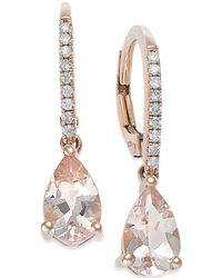 Macy's - Morganite (1-1/5 Ct. T.w.) And Diamond (1/10 Ct. T.w.) Earrings In 14k Rose Gold - Lyst