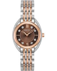 Bulova - Women's Diamond Accent Two-tone Stainless Steel Bracelet Watch 30mm 98r230 - Lyst