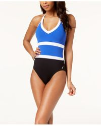Nautica - Colorblocked Halter One-piece Swimsuit - Lyst