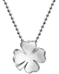 Alex Woo - Little Faith Clover Pendant Necklace In Sterling Silver - Lyst