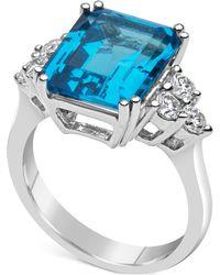 Macy's - Blue Topaz (8 Ct. T.w.) & Diamond (1/2 Ct. T.w.) Ring Set In 14k White Gold - Lyst