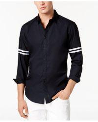 INC International Concepts - Striped-sleeve Button Down Shirt, Created For Macy's - Lyst