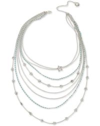 """BCBGeneration - Silver-tone Star & Stone Multi-row Statement Necklace, 19"""" + 3"""" Extender - Lyst"""
