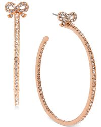 Betsey Johnson - Medium Rose Gold-tone Crystal Bow Hoop Earrings - Lyst