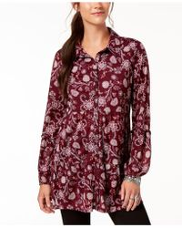 Style & Co. - Petite Printed Mesh Shirt, Created For Macy's - Lyst