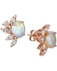 Macy's - Opal (2-1/5 Ct. T.w.) & Diamond (5/8 Ct. T.w.) Stud Earrings In 14k Rose Gold - Lyst