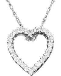 Macy's - Diamond Heart Pendant Necklace In 14k White Gold (1/10 Ct. T.w.) - Lyst